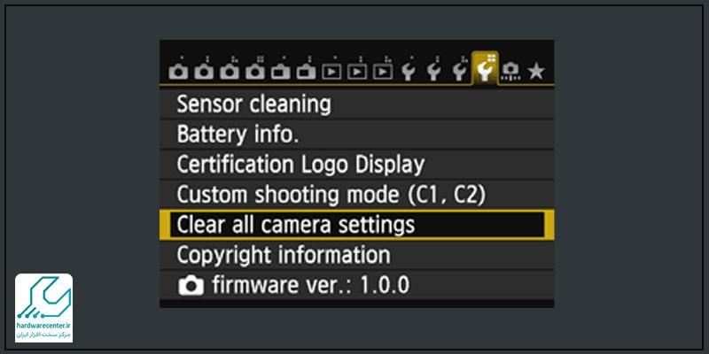 Clear all camera settings tab
